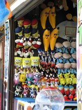 prizes at a boardwalk stand
